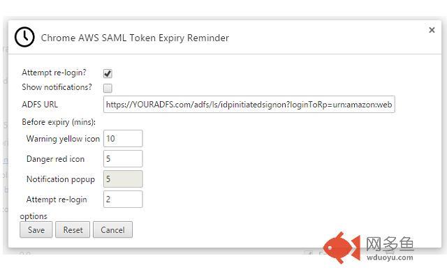 Chrome AWS SAML Token Expiry Reminder插件截图