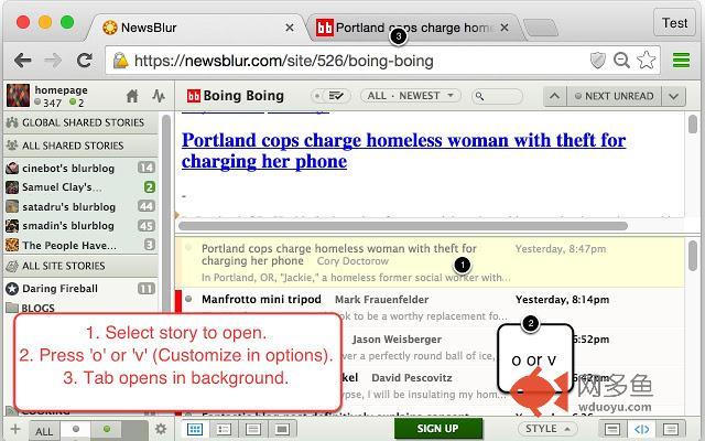 Background Tab for NewsBlur插件截图