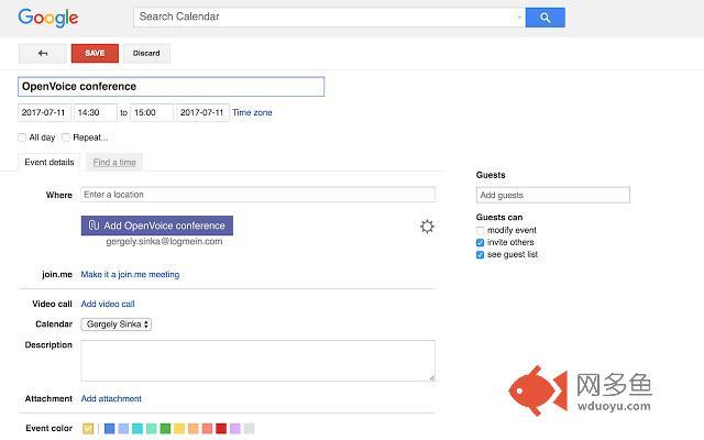 OpenVoice for Google Calendar插件截图