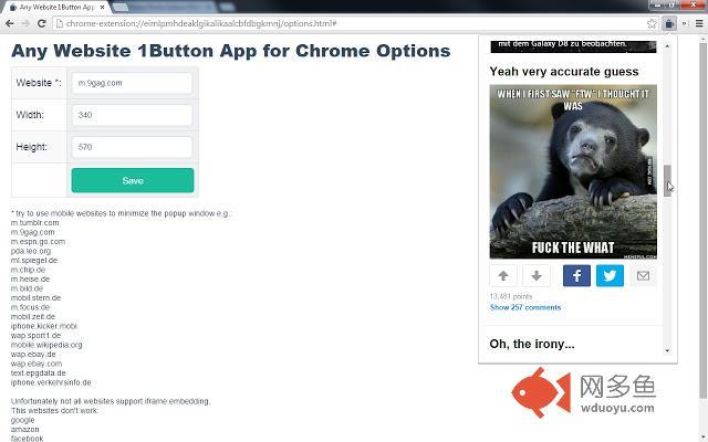 Any Website 1Button App for Chrome