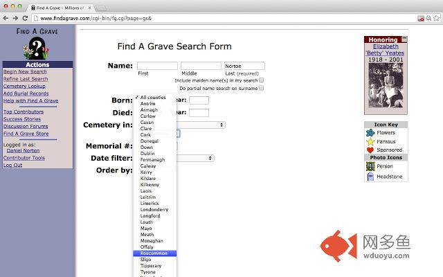Ireland grave search插件截图