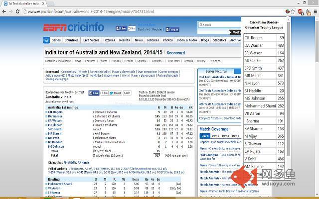 Cricketism Fantasy League插件截图